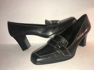 Casual-Corner-Sz-9-1-2-M-Black-Leather-Buckle-Loafers-Shoes-Heels-Pumps-WS10-3-4