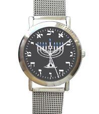 Hebrew Numbers Brushed Chrome Watch Has Black Menorah Dial & S.S Mesh Band