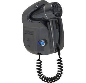 HOSPISTYLE-GHIBLI-EVO-HUB-Asciugacapelli-da-Parete-1800W-Porte-USB-Grigio