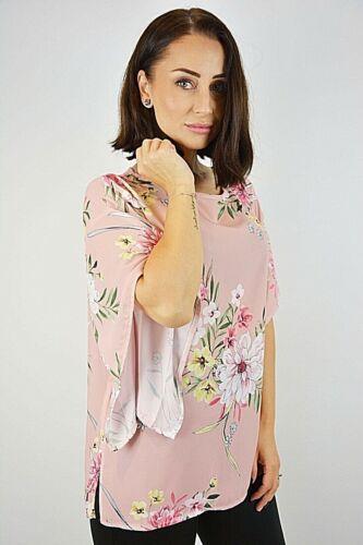 Floral Print Batwing Sleeve Chiffon Boxy Top Size 8-14 New Women Ex Brand Pink