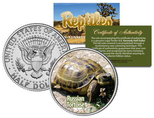 RUSSIAN TORTOISE Reptiles JFK Half Dollar US Colorized Coin HORSFIELD TURTLE