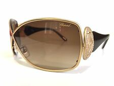 NEW CHOPARD SCH802S 0648 CAT EYE GOLD BROWN WOMEN SUNGLASSES 125MM WRAP WITH BOX