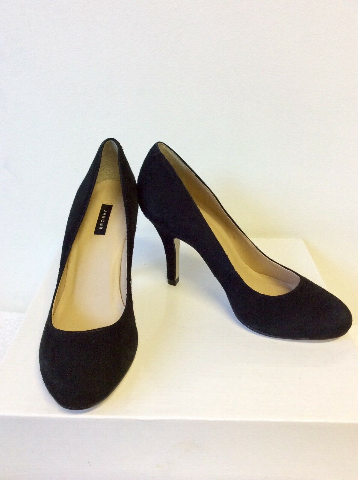 BRAND NEW SIZE JAEGER BLACK SUEDE HEELS SIZE NEW 3.5/36 80d05d