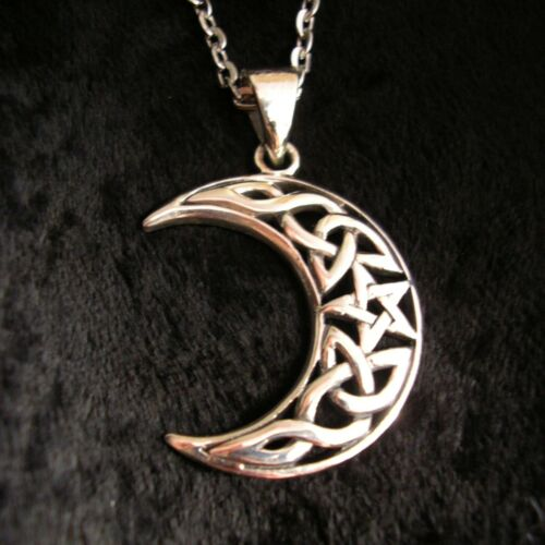 Plata esterlina 925 Celta Moon Collar con pentáculo Wicca Pagano Colgante