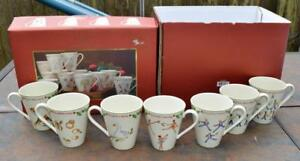 NEW-LENOX-China-Twelve-DAYS-of-CHRISTMAS-7-Holiday-Mugs-only-w-original-box-read