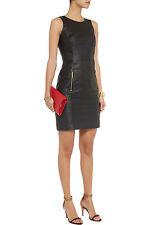 MICHAEL £650 Michael Kors Jersey-paneled leather mini dress size 10 uk 6 us 38