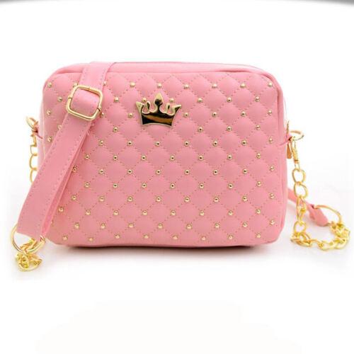 Women Messenger Rivet Chain Shoulder Bag Faux Leather Crossbody Tote Handbag US