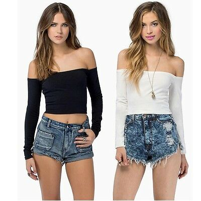 Sexy Woman Crop Tops Strapless Bandage T shirt Long Sleeves Short mini Tops HOT