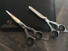 """Profesional Grooming Scissor & adelgazamiento Negro 6"""" Set RRP £ 129"""