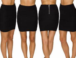Womens-Ladies-Ribbed-Panel-Zip-Back-Plain-Bodycon-Stretch-Mini-Bandage-Skirt