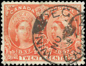 1897-Used-Canada-20c-F-VF-Scott-59-Diamond-Jubilee-Stamp
