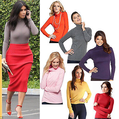 WOMENS SLEEVELESS TURTLE NECK TOP LADIES ROLL NECK  POLO NECK JUMPER  8-22