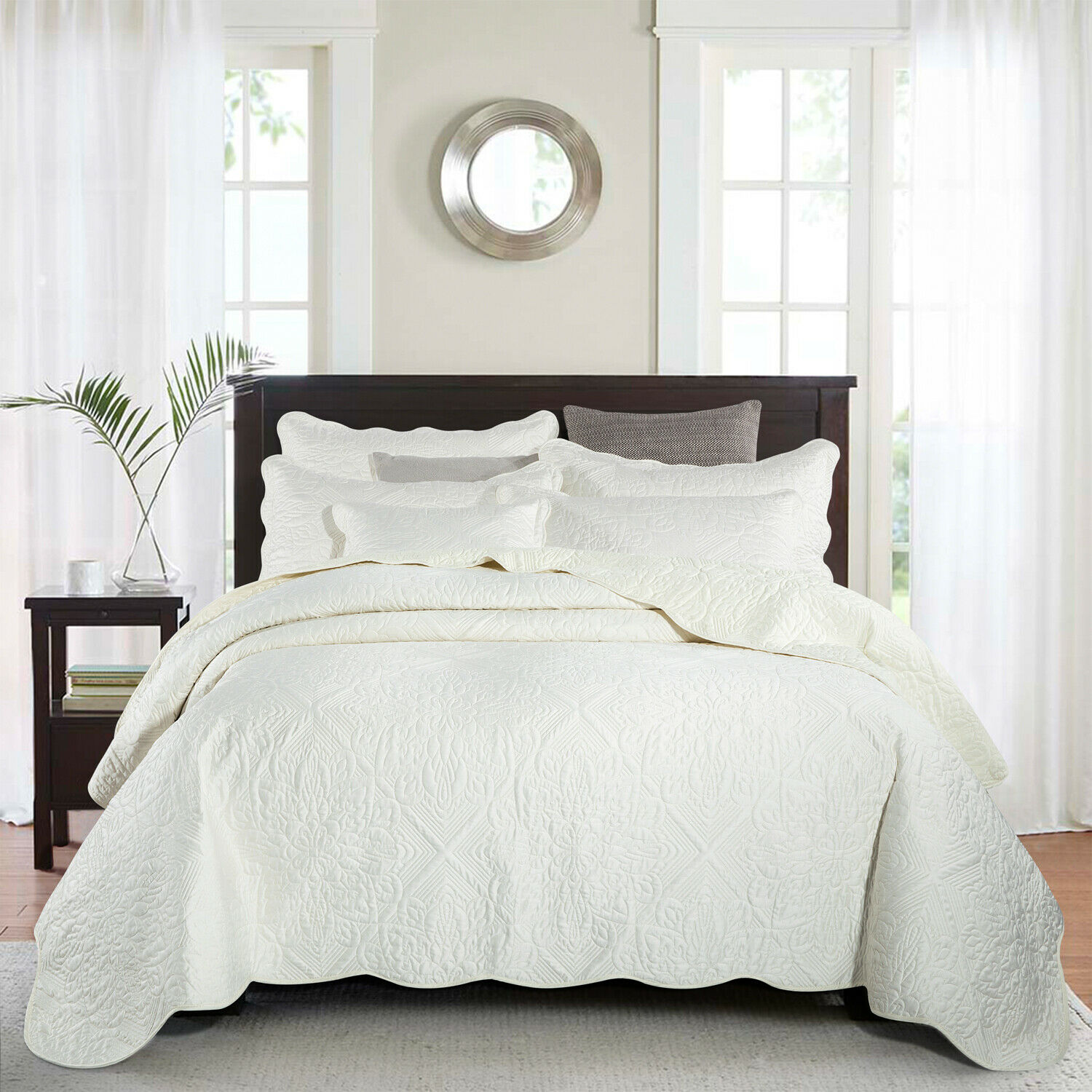 Modern Quilted Bedspread Set Bed Throw Comforter Set /& Pillow Shams Single-King