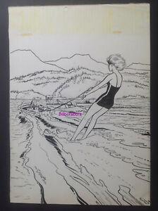 Jijé Planche Originale Couverture BD Valhardi Rendez-Vous sur Yukon Ski Nautique