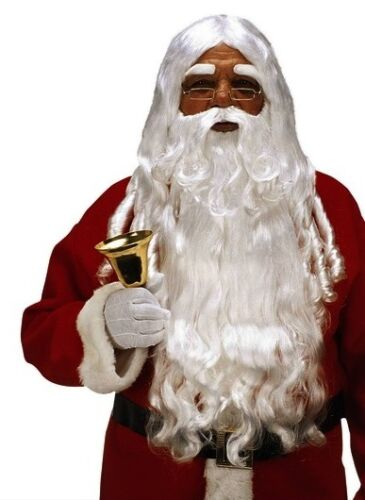 Deluxe White Santa Wig /& Beard Father Christmas Fancy Dress Xmas