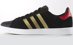 3db11e360454 Adidas SUPERSTAR VULC ADV Leather Black Gold Red D68721 (334) Men s ...