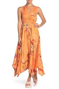 NWT Nostalgia Orange Handkerchief Scarf Hem Floral Summer Maxi Midi Boho Dress
