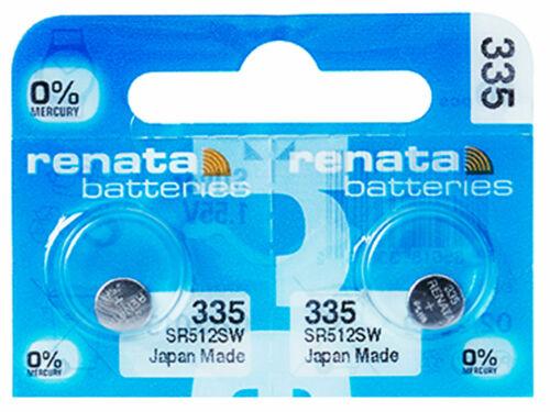 2 x Renata 335 Pila Batteria Orologio Mercury Free Silver Oxide SR512SW 1.55V
