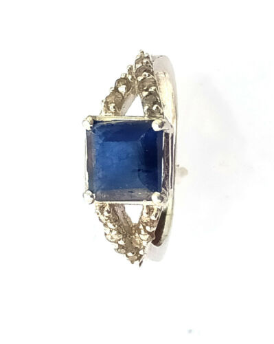 Details about  /925 Streling Silver Ring Natural Belu Sapphire Ring Diamond Ring Handmade Ring