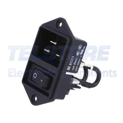 1pcs EC11.0001.001 Connecteur alimentation AC Version C20 avec interrupteur I