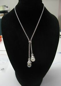 Double-Drop-South-Seas-Pearl-amp-Diamond-Necklace-18KT-White-Gold
