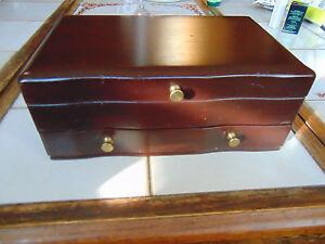Vintage Thick Solid Mahogany Wood Jewelry Box Dresser Top Storage