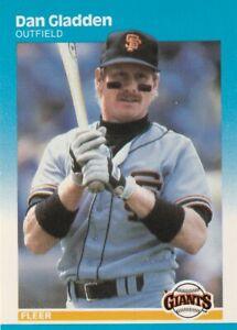 FREE SHIPPING-MINT-1987 Fleer Dan Gladden #274 GIANTS PLUS BONUS CArRDS