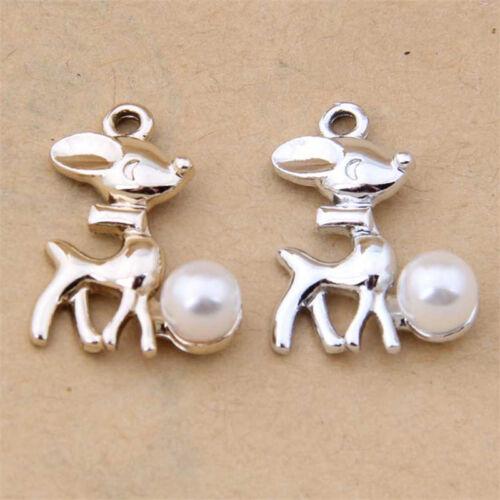 Charms Dog Animal Small Pendants Beads Imitation pearl DIY Jewelry Making //1135