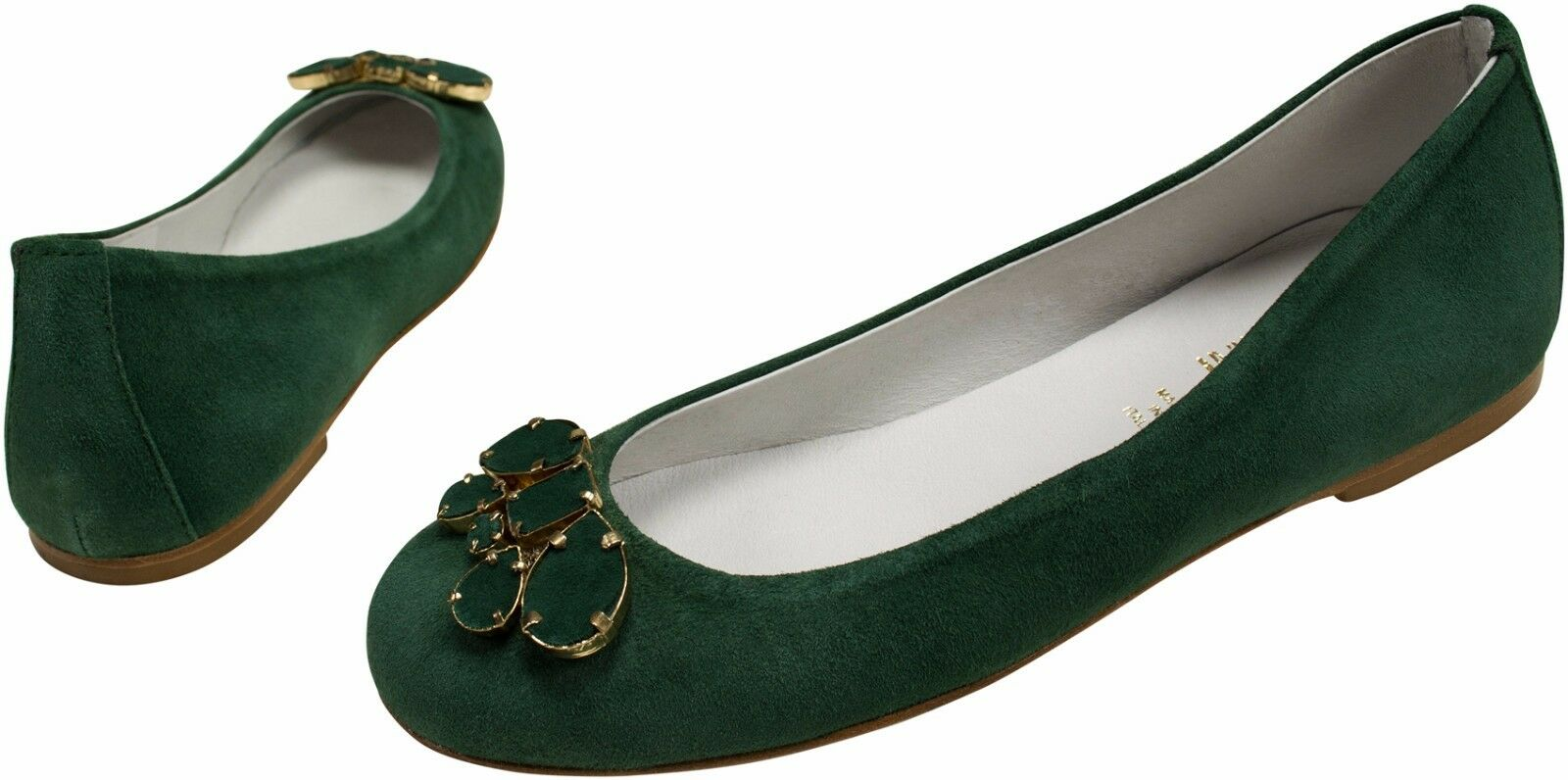 Ballerina Leather Dark verde Goat Leather oroen metal elements Leather Dark verde