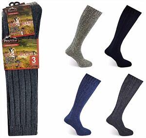 3 PAIRS Mens Wool Blend Longer Length Thick Thermal Wellington Boot Socks Work