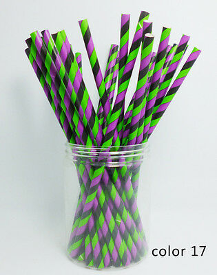 1 Pack 25 PCS Festival Pattern Paper Drinking Straw For Halloween Party Color 17