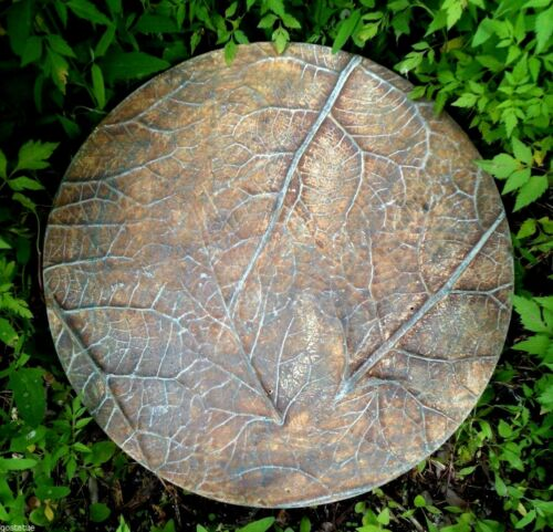 """Leaf stepping stone mold concrete plaster plastic mould 13/"""" x 1.5/"""" thick"""