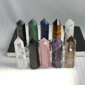 Natural-Flourite-Amethyst-Rose-Clear-Quartz-Crystal-Point-Obelisk-Wand-Healing