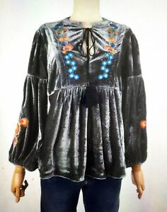UK-Women-Ladies-Long-Sleeve-Velvet-Floral-Embroidery-Tunic-Top-Shirt-Blouse