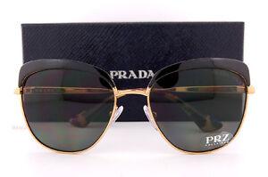 ef9c16e26aca Brand New Prada Sunglasses PR 51TS LAX 5X1 Black Gold Gray Polarized ...