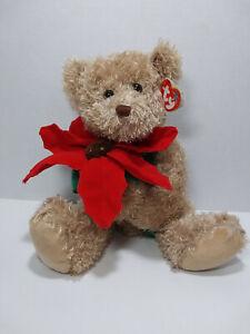 Ty Beanie Buddy 2005 Holiday Teddy - Christmas Bear w/ Poinsettia