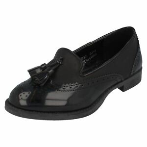 Spot On H3R037 Girls Black Patent Slip On Shoes With Decorative Tassels R9A