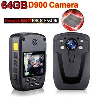 64gb D900 Police Wearable Body Video Camera Recorder Dvr Hd 1080p Body Tgy