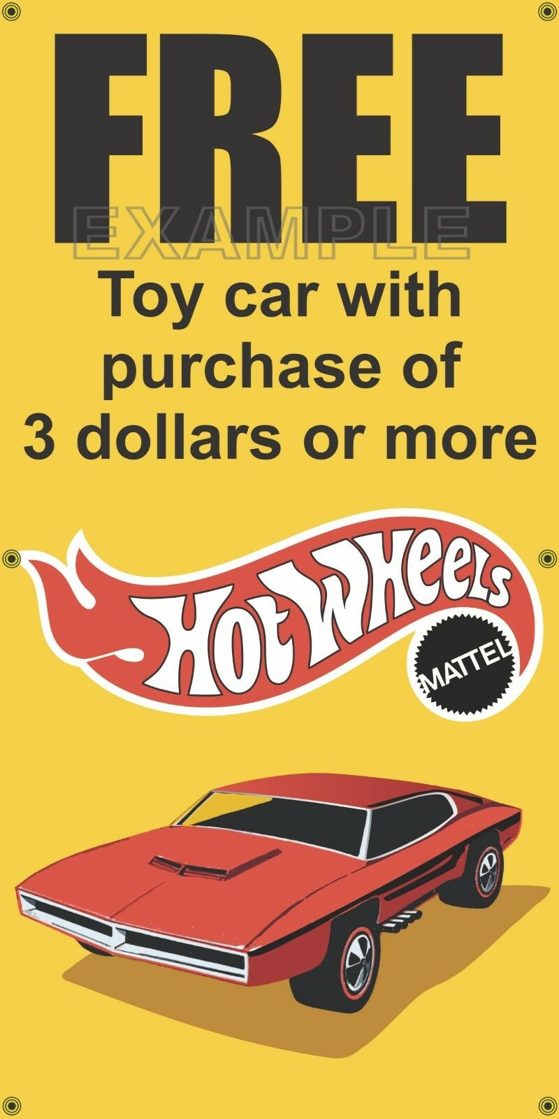 SHELL GAS STATION FREE HOT WHEELS CAR CAR CAR OLD SCHOOL SIGN REMAKE BANNER ART 2' X 4' f4f190