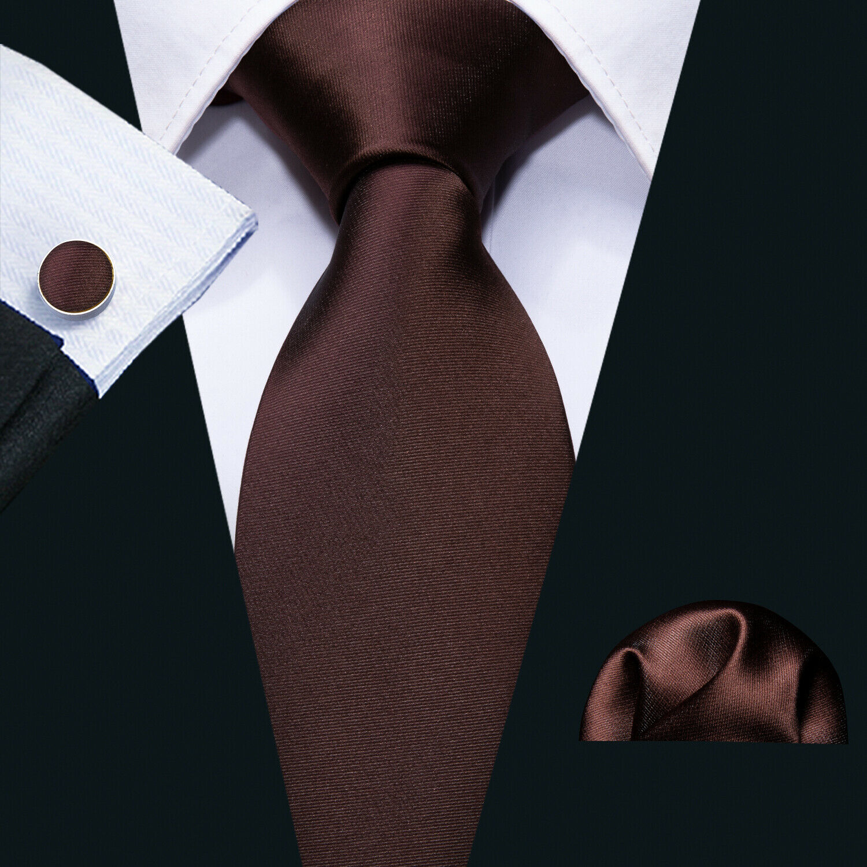 Classic Men's Brown Solid Silk Tie Cufflinks Hanky Set Formal Bussiness Event