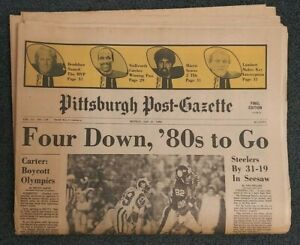 Super Bowl 14 XIV - Steelers vs Rams - 1980 Pittsburgh Newspaper - Football NFL