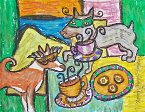 Basenji-Masquerade-Party-Pop-Art-Print-8x10-Dog-Collectible-Signed-by-Artist-KHS