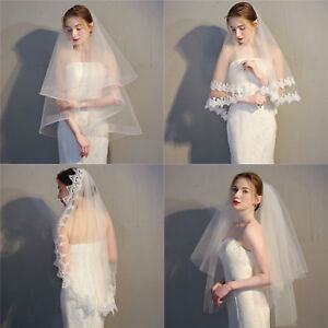 Elegant-White-Ivory-Lace-Tulle-Bridal-Wedding-Veil-with-Comb-Bridal-Accessories