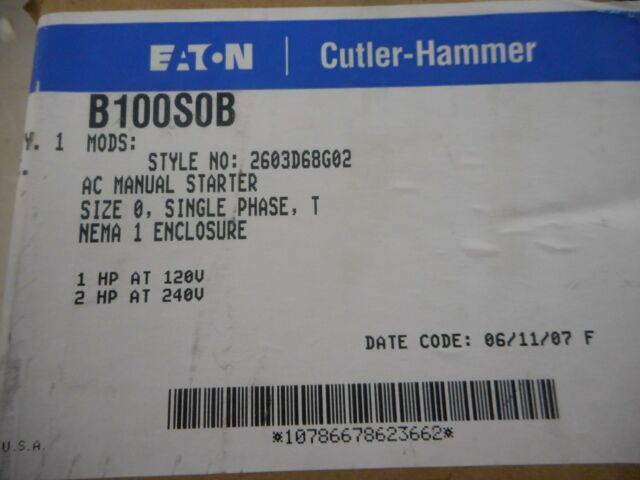 EATON CUTLER HAMMER B100S0B MANUAL MOTOR STARTER SIZE 0 SINGLE PHASE INDOOR