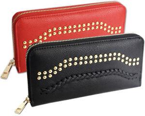 Damen-Geldboerse-gross-mit-Reissverschluss-Portemonnaie-Geldbeutel-schwarz-und-rot