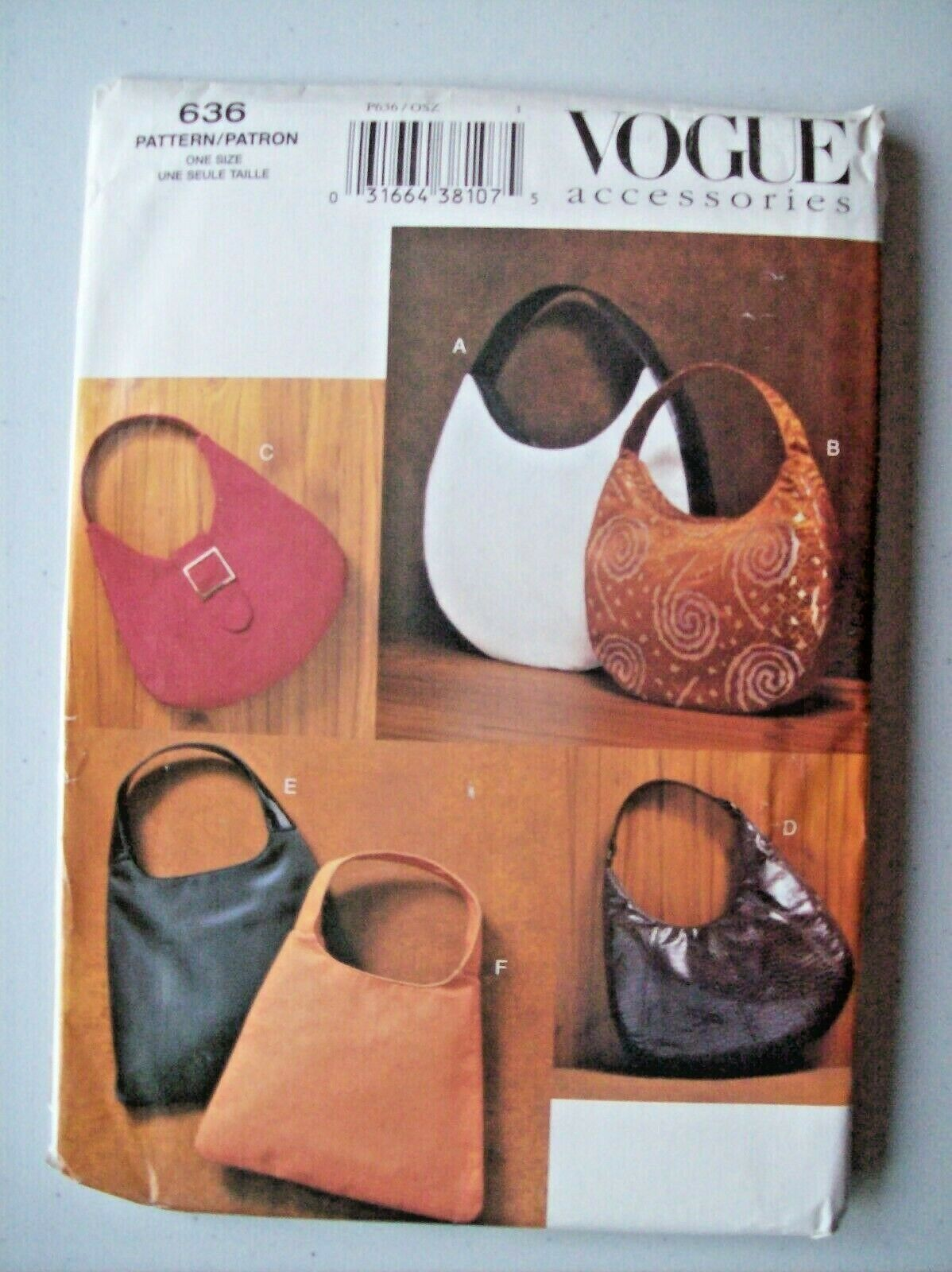 Vogue 7374 Misses/' Evening Bags *Compare @ $11.74  Sewing Pattern