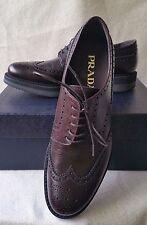 New Prada 8UK 9 US Platform Scotch Grain Wingtip Leather Lace Up Oxford Shoes
