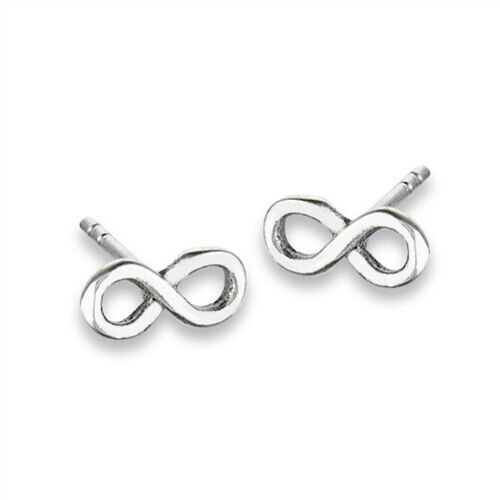 Details about  /Sterling Silver Infinity Stud Earrings Free Gift Packaging Pair