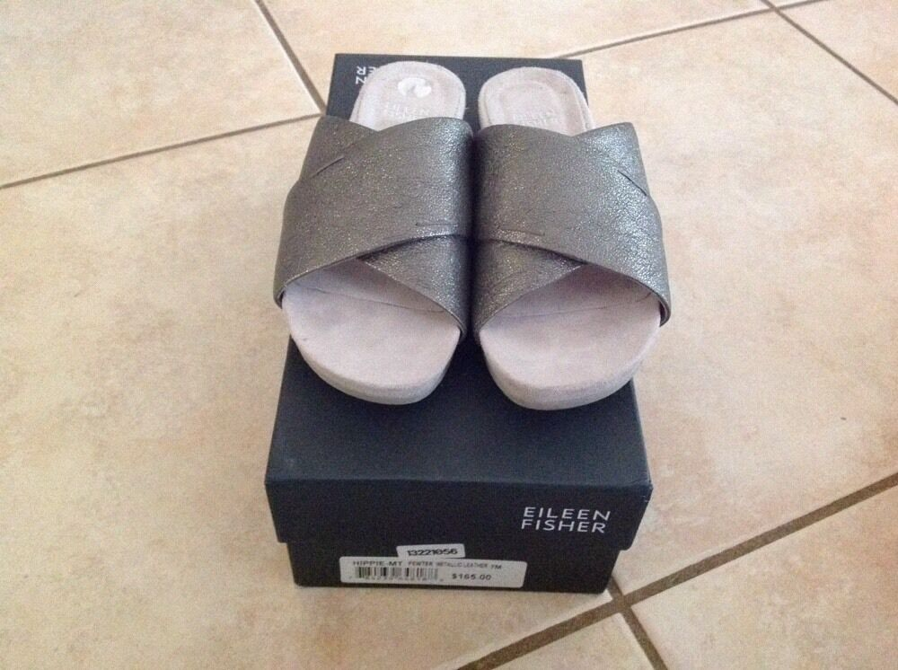EILEEN FISHER HIPPIE-MT SZ 7M PEWTER METALLIC LEATHER SANDALS CRISS CROSS SANDALS LEATHER d4a414