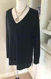 Vince-Sweater-Size-Large-Black-Wool-Cashmere-Silk-Trim-Tunic-V-Neck
